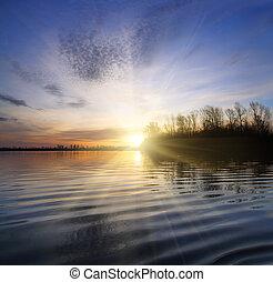 paesaggio fiume, con, tramonto