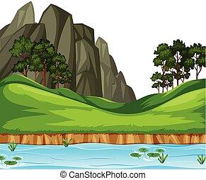paesaggio fiume, fondo, natura