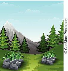 paesaggio, fondo, con, montagne