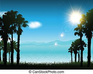 paesaggio, fondo, tropicale