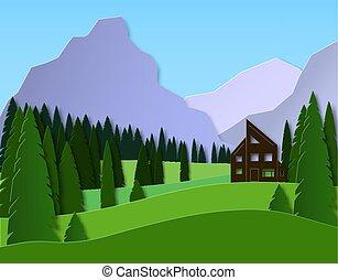 paesaggio, foresta, casa, carta in fogli, montagne., vettore, design., viaggiare, fields., abete rosso, recreation., pubblicità, 3d