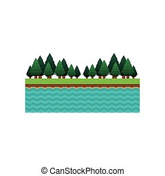 paesaggio, foresta, fondo, lago