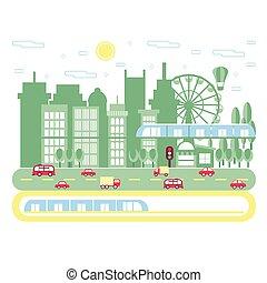 paesaggio., illustration., appartamento, grattacieli, centro, railway., vettore, traffico, fondo., cityscape, urbano