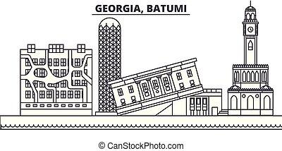 paesaggio., illustration., cityscape, limiti, viste, vettore, famoso, batumi, linea, orizzonte, georgia, città, lineare