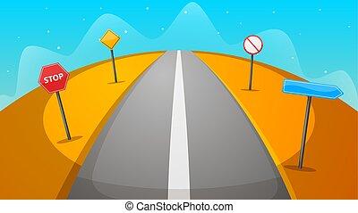 paesaggio., illustration., segno, cartone animato, deserto, strada