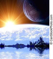 paesaggio, in, fantasia, pianeta