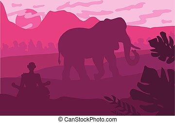 Paesaggio elefante. illustration. grande grigio verde elefante