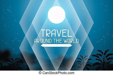 paesaggio, intorno, viaggiare, albero, luna, tropicale, palma, fondo, world.