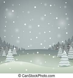 paesaggio., inverno, colorare, vendemmia, vettore, scheda natale