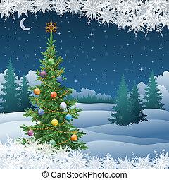 paesaggio inverno, con, albero natale
