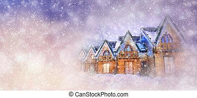 paesaggio inverno, con, casa