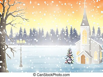 paesaggio inverno, con, chiesa