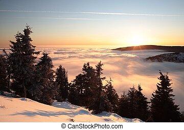 paesaggio inverno, crepuscolo