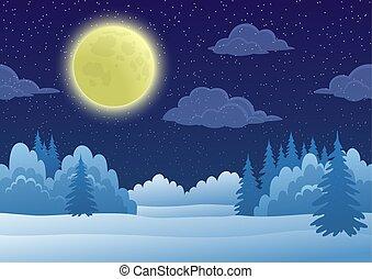 paesaggio, inverno, foresta