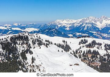 paesaggio inverno, in, alpi