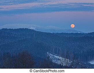 paesaggio inverno, montagne, a, night., uno, luna piena, e, stellato, sky.