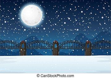 paesaggio inverno, notte
