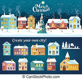 paesaggio., inverno, strada, albero., nevoso, villaggio, città, natale, confortevole, panorama., notte, città