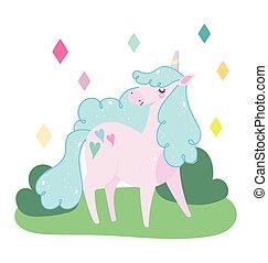 paesaggio, magia, adorabile, sogno, fantasia, unicorno, cartone animato, animale