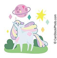 paesaggio, magia, fantasia, unicorno, stelle, cartone animato, pianeta