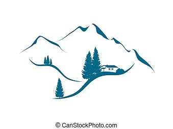 paesaggio montagna, con, cottage, un, abeti