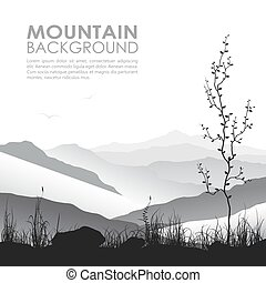 paesaggio montagna, con, erba, e, albero