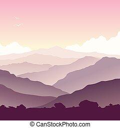 paesaggio montagna, con, erba, e, enorme, lago