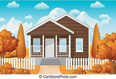 paesaggio montagna, con, famiglia, casa, in, stagione caduta