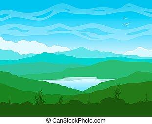 paesaggio montagna, con, lago blu