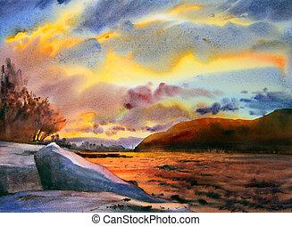 paesaggio montagna, dipinto, vicino, acquarello