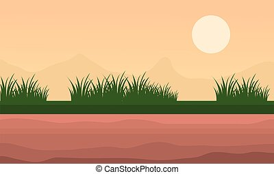 paesaggio, montagna, e, erba, a, mattina