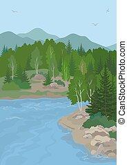 paesaggio montagna, lago, albero