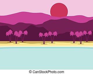 paesaggio., montagne, albero, costa, tropicale, fondo., vettore, palma, illustrazione