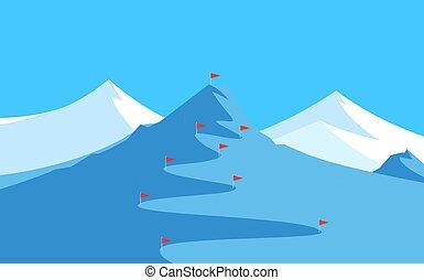 paesaggio, montagne, slalom, sciare