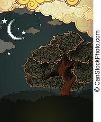paesaggio., moon., nubi, cartone animato, albero