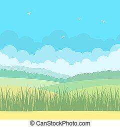 paesaggio natura, con, cielo blu, e, campi