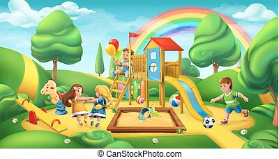paesaggio., natura, panorama, parco, vettore, playground., bambini, 3d