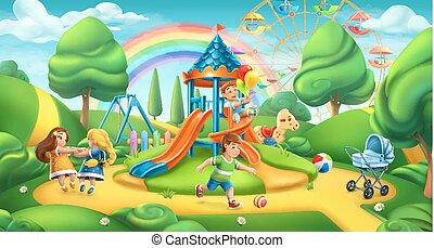paesaggio, natura, panorama, parco, vettore, playground., bambini, 3d