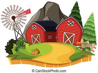 paesaggio, natura, terreno coltivato, granaio, rosso