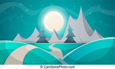 paesaggio., notte, mountain., cartone animato, abete