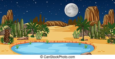 paesaggio, oasi, scena, deserto, natura, notte, catus, palme