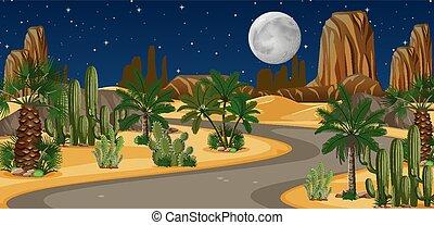 paesaggio, oasi, scena, deserto, strada lunga, notte