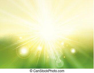 paesaggio., raggi, pendenza, astratto, cielo, luce sole, sfocato, sfondo verde, crepuscolo
