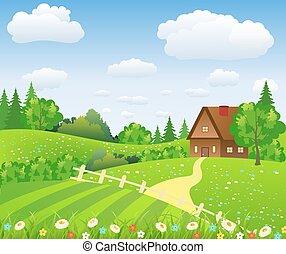 paesaggio rurale, con, campi, e, colline