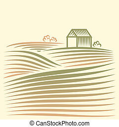 paesaggio rurale, con, casa