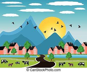 paesaggio rurale, con, piccola città, in, montagna
