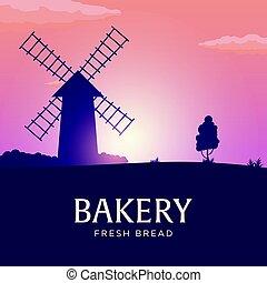 paesaggio rurale, con, windmill., sunrise., bakery., fresco, bread., vettore, illustration.