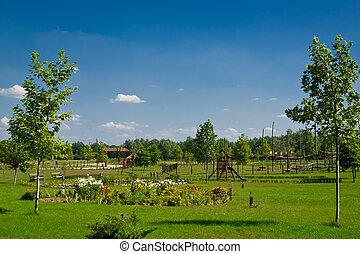Paesaggio rurale fattoria fattoria campi lussureggiante casa verde paesaggio rurale - Casa rural can salva ...