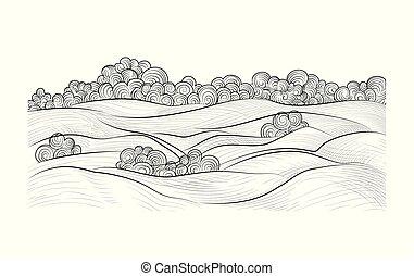 paesaggio., schizzo, arte, natura, campagna, scarabocchiare, mano, fondo., orizzonte, rurale, disegnato, linea