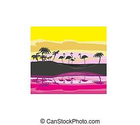 paesaggio, silhouette, natura, illustrazione, selvatico, fenicotteri